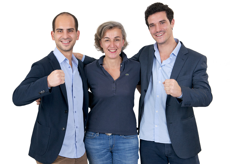 L'équipe Weenect : Adrien, Ferdinand et Bénédicte